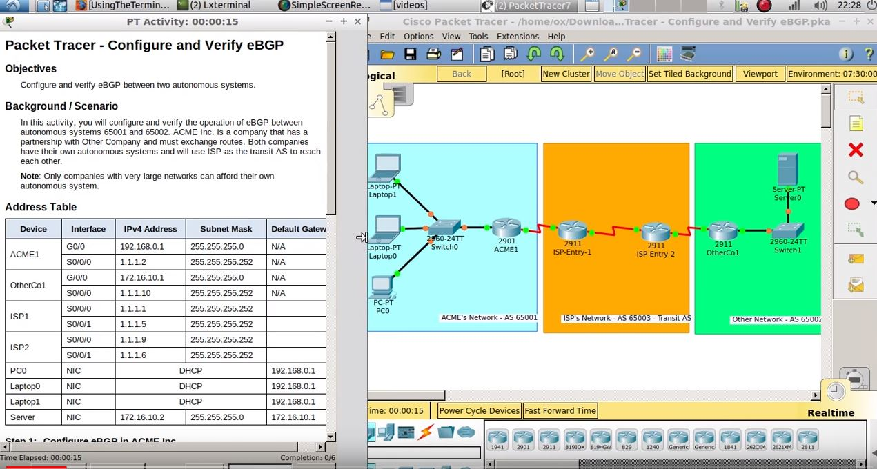 4.4.3.6 Packet Tracer – Configure and Verify BGP