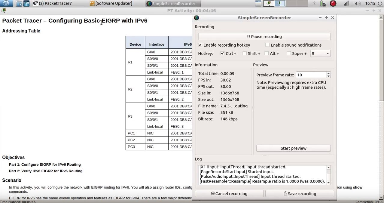 7.4.3.4 Packet Tracer – Configuring Basic EIGRP with IPv6 Routing.pka