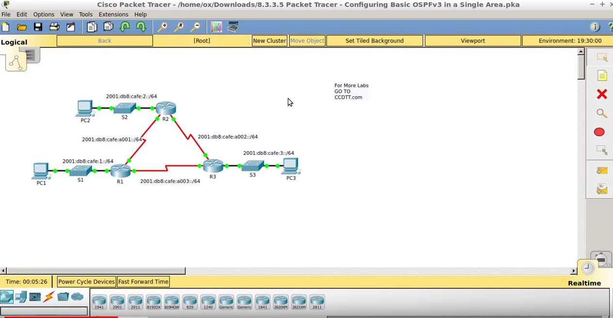 8.3.3.5 Packet Tracer – Configuring Basic OSPFv3 in a Single Area.pka