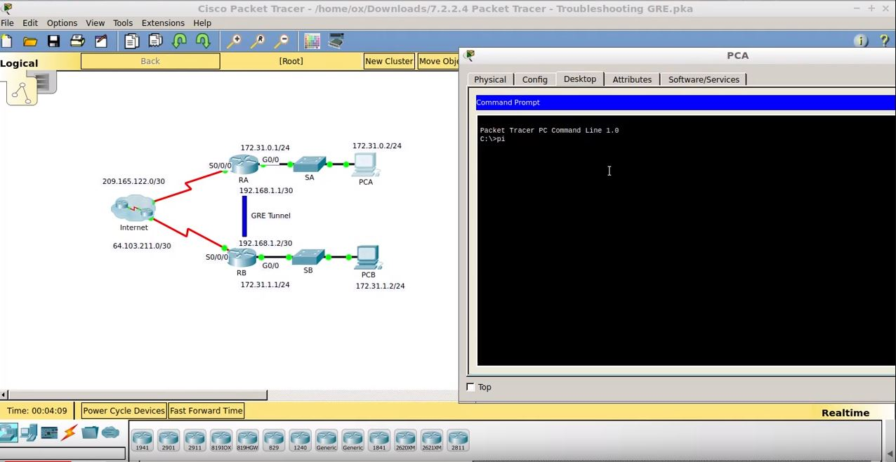 CCNA 7.2.2.4 Packet Tracer – Troubleshooting GRE.pka