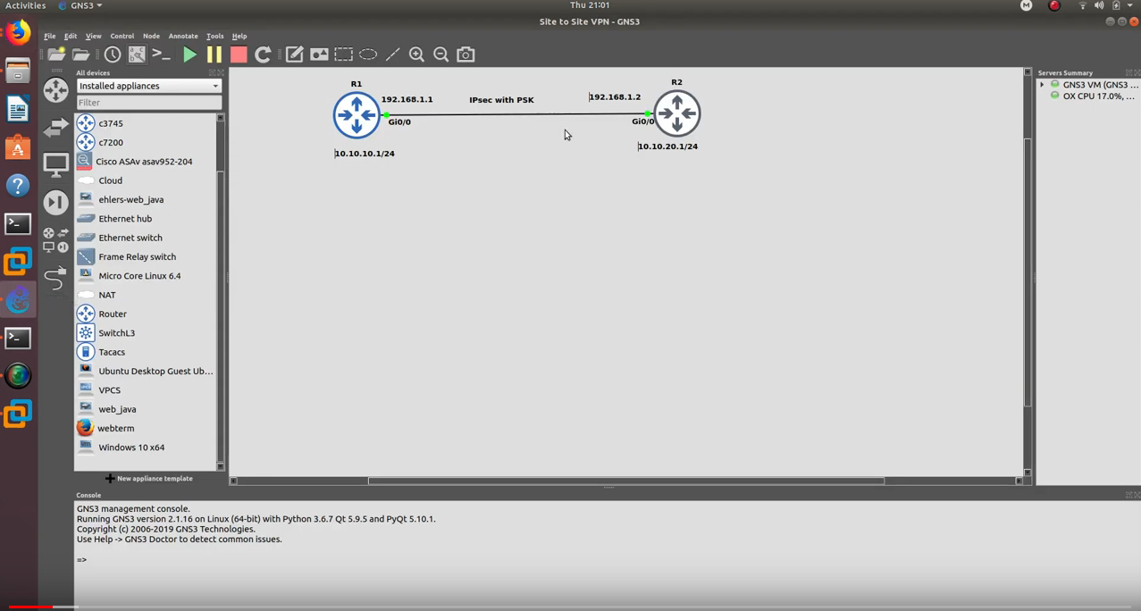 IPsec site to site VPN with pre shared key authentication on Cisco Routers