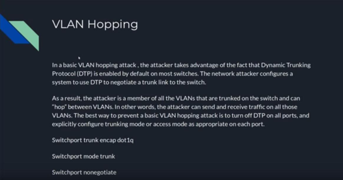 Describe VLAN hopping, VLAN Double Tagging and STP Attacks