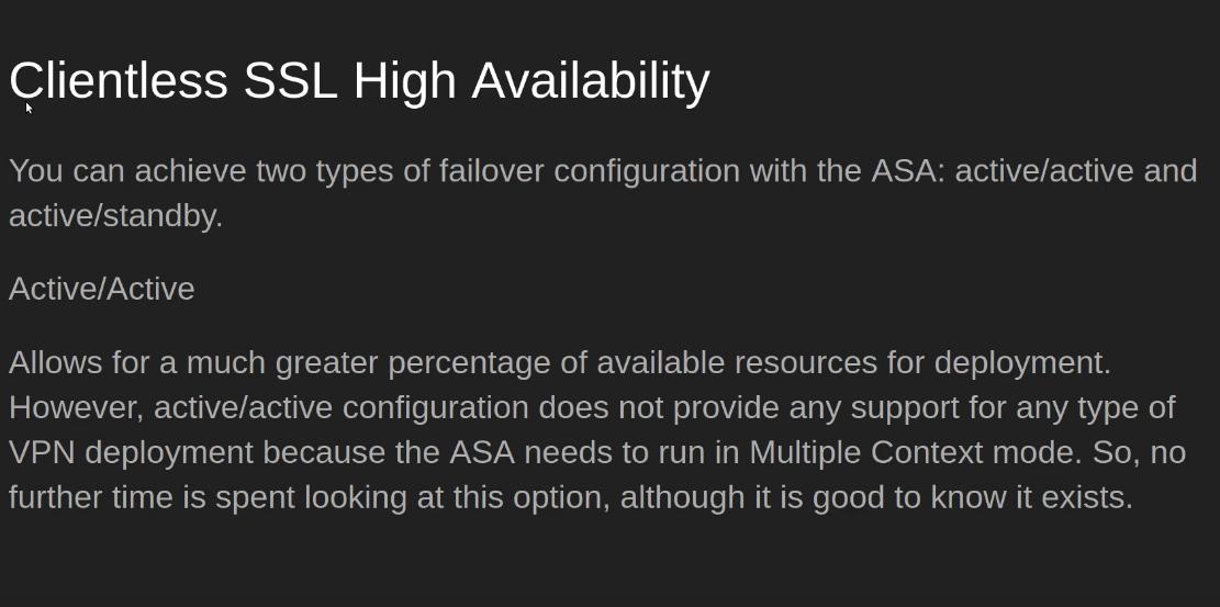 High Availability in Clientless SSL VPN